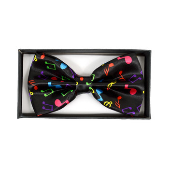 Men's Colorful Music Notes Black Banded Bow Tie