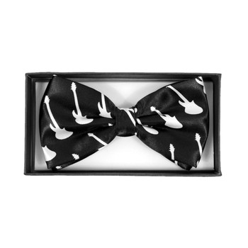 Men's White Guitar Black Banded Bow Tie