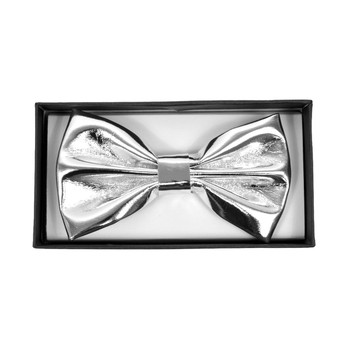 Men's Metalic Silver Banded Bow Tie