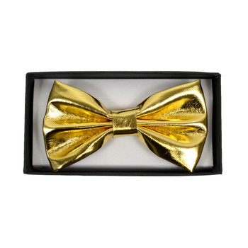 Men's Metalic Gold Banded Bow Tie