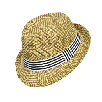 6pcs Two Sizes Boy's Spring/Summer Tan Straw Fedora Hats with Black/White Striped Band