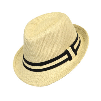 6pcs Two Sizes Boy's Spring/Summer Cream Straw Fedora Hats with Black Highlight Band