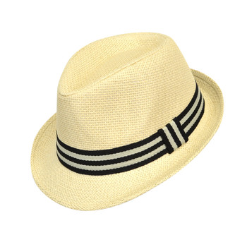 6pcs Two Sizes Boy's Spring/Summer Cream Straw Fedora Hats with Black Striped Band