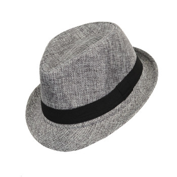 6pcs Two Sizes Boy's Spring/Summer Gray Fedora Hats with Black Band