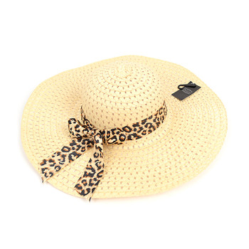 "6pc Women's 5"" Brim Leopard Bow Floppy Hat LFH1117"