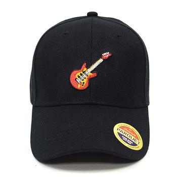 Guitar Black Embroidered Baseball Cap
