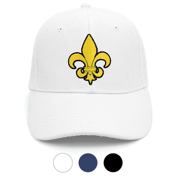 Yellow Fleur-de-lis Embroidered Baseball Cap