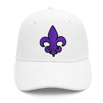 Purple Fleur-de-lis Black Embroidered Baseball Cap (BCC010516FLB2)