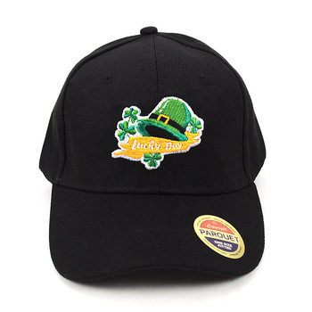 Lucky Day Black Embroidered Baseball Cap