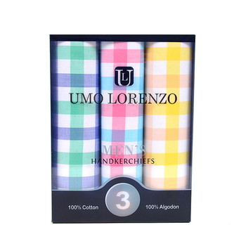 Men's Boxed Fancy Cotton Handkerchiefs 3pcs Set MFB1553
