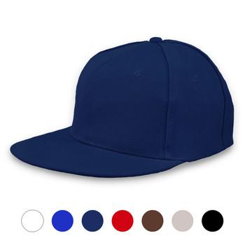 Solid Flat Bill Snapback Cap
