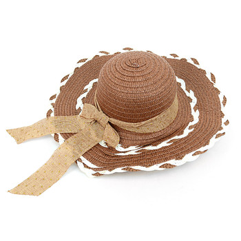 "Women's 4.25"" Brim Tan Bow Brown Floppy Hat H10325"