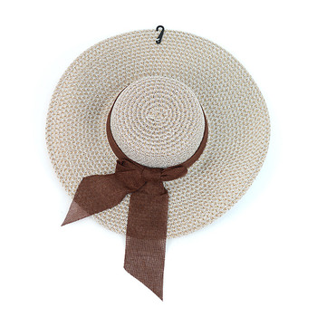 "Women's 4.5"" Brim Tan and White Bow Floppy Hat H10319"