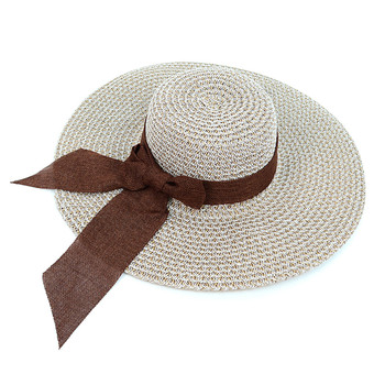 "Women's 4.5"" Brim Brown Bow White Floppy Hat H10319"