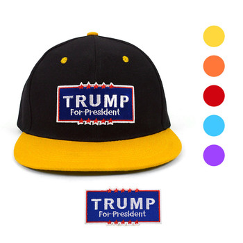 2016 Trump Two Tone Flat Bill Embroidery Patch Snapback Cap, Hat