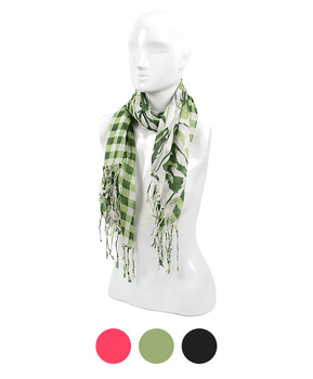 12pc Light Viscose Abstract Fringed Oblong Scarf LS2080