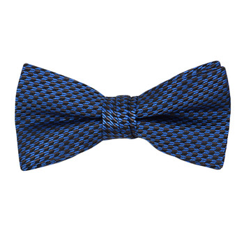 """Boy's 2"""" Navy Blue Dotted Polyester Woven Banded Bow Tie FBB01"""