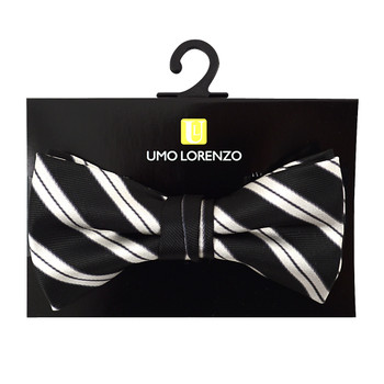 """Boy's 2"""" Black & White Striped Polyester Woven Banded Bow Tie FBB2"""