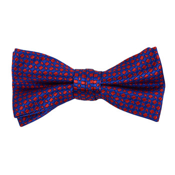 "Boy's 2"" Blue & Red Dotted Polyester Woven Banded Bow Tie FBB05"
