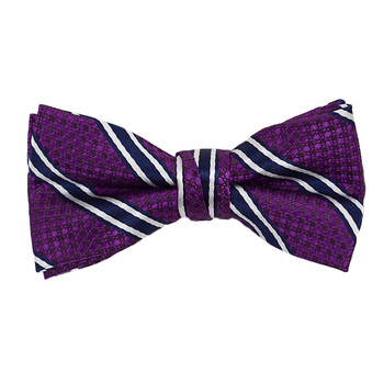 "Boy's 2"" Purple Striped Polyester Woven Banded Bow Tie FBB07"