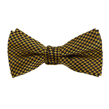"""Boy's 2"""" Gold & Navy Dotted Polyester Woven Banded Bow Tie FBB08"""