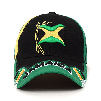 Jamaica Black 3D Embroidered Baseball Cap, Hat EBC10282