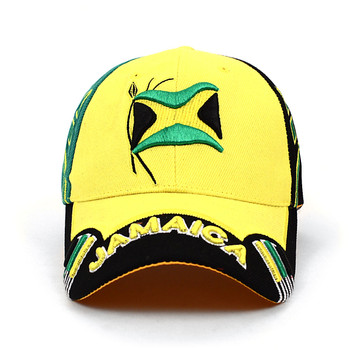 Jamaica Yellow 3D Embroidered Baseball Cap, Hat EBC10283
