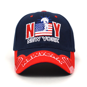 NY Flag Navy Blue 3D Embroidered Baseball Cap, Hat EBC10290