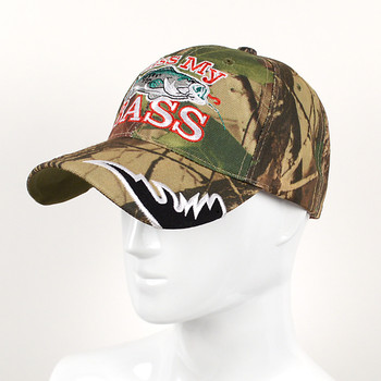 """Kiss My Bass"" Camo 3D Embroidered Baseball Cap, Hat EBC10296"