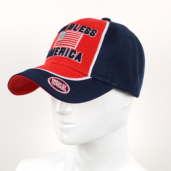 """God Bless America"" Red & Navy 3D Embroidered Baseball Cap, Hat EBC10298"