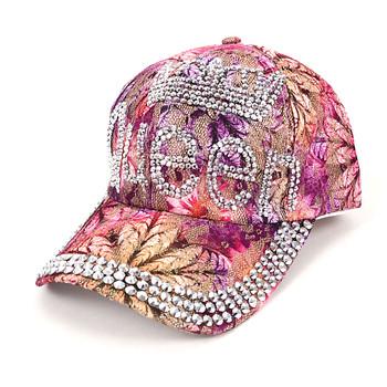 """""""Queen"""" Bling Studs Pink Flower Baseball Cap, Hat CFP9581P"""
