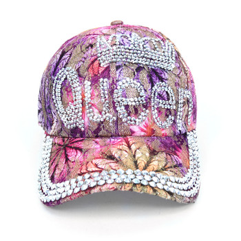"""Queen"" Bling Studs Pink Flower Baseball Cap CFP9581P"