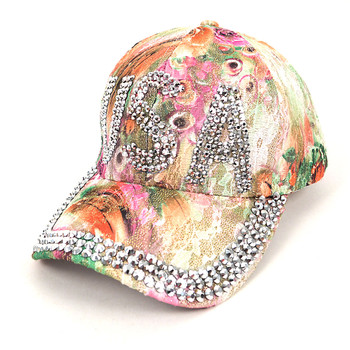"""USA"" Bling Studs Green Flower Baseball Cap, Hat CFP9235G"