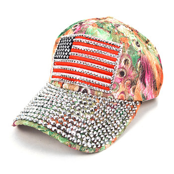 """American Flag"" Bling Studs Green Flower Baseball Cap CFP10173G"