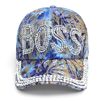 """Boss"" Bling Studs Blue Flower Baseball Cap, Hat CFP9590B"