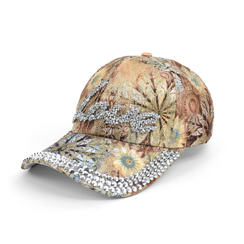 """Love"" Bling Studs Tan Flower Baseball Cap, Hat CFP9584T"