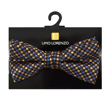 "Boy's 2"" Brown & Blue Checkered Polyester Woven Banded Bow Tie FBB18"