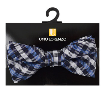 "Boy's 2"" Blue Plaid Polyester Woven Banded Bow Tie FBB19"