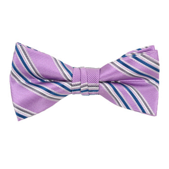 "Boy's 2"" Purple Striped Polyester Woven Banded Bow Tie FBB23"