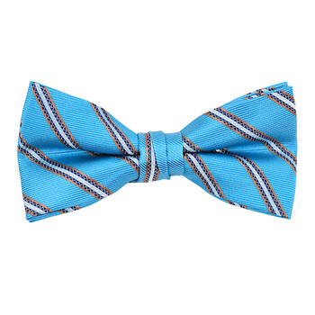 """Boy's 2"""" Sky Blue Striped Polyester Woven Banded Bow Tie FBB24"""