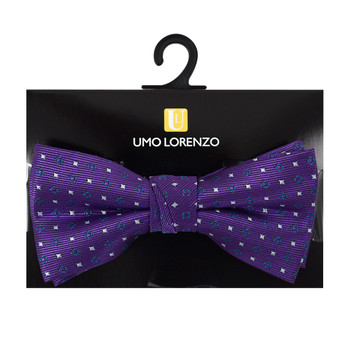 "Boy's 2"" Purple Dotted Polyester Woven Banded Bow Tie FBB25"