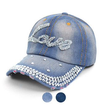 """LOVE"" Bling Studs Denim Cap ""Love"" CP9584"