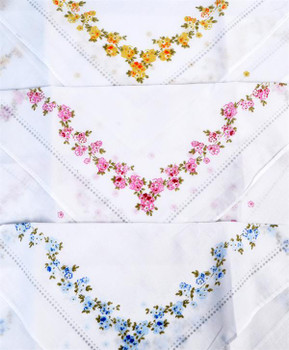 Boxed Fancy 3pc. Ladies Cotton Handkerchiefs WFH3010