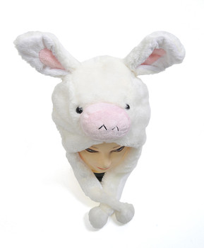 6 pcs White Donkey Plush Winter Hat HATC1030