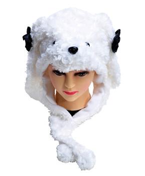 6pc Pre-Pack Animal Fleece Hats - White Puppy HATCW111286