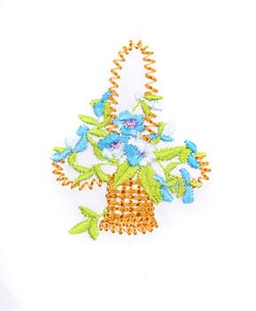 Boxed Embroidered Flower-Baskets Ladies' Cotton Handkerchiefs WEH3604