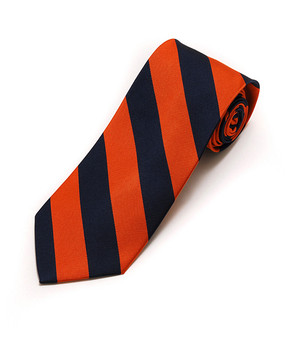 Men's Orange & Navy Silk Woven College Tie SCT2403