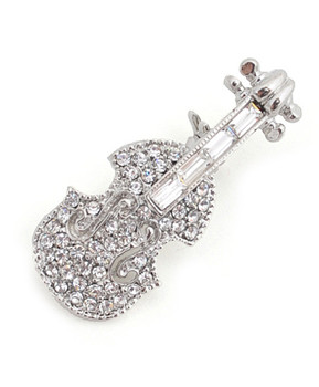 12pc. Brooch - Silver Violin IMBCBR09322