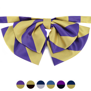 Women's Microfiber Poly Woven College Banded Bow Ties LCB