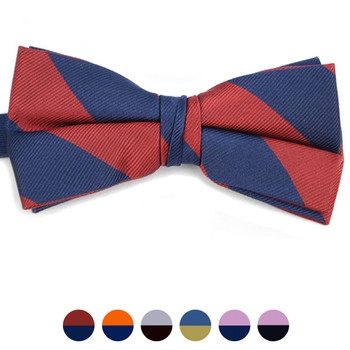 Men's Silk Woven College Banded Bow Tie CBB3601